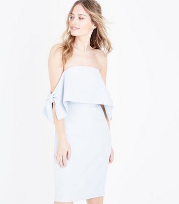 Pale Blue Bow Side Bardot Dress