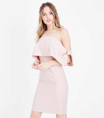 Pale Pink Bow Side Bardot Dress