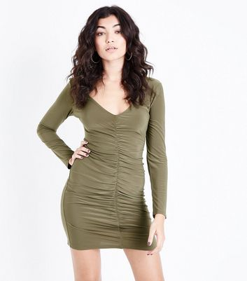 Khaki Ruched Front Long Sleeve Bodycon Dress