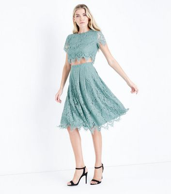 Light Green Lace Midi Skirt