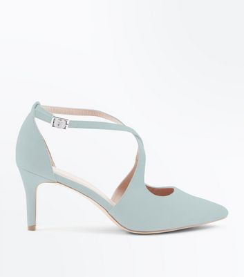 Wide Fit Mint Green Suedette Cross Strap Heels by New Look