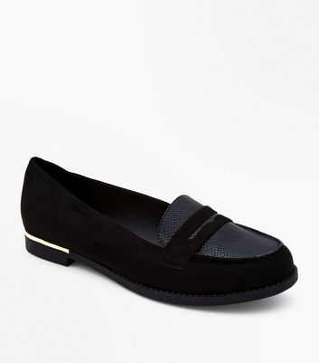 Wide Fit Black Comfort Faux Snakeskin Panel Loafers