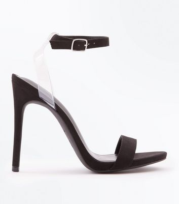Black Suedette Clear Strap Stiletto Heels