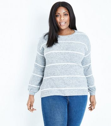 Curves Grey Stripe Brushed Jumper