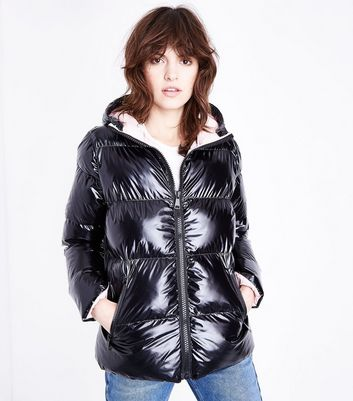 Cameo Rose Black High Shine Hooded Puffer Jacket