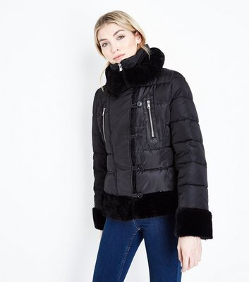 Cameo Rose Black Snood Collar Puffer Jacket