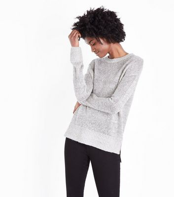 Pale Grey Step Hem Jumper