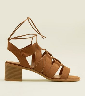 Teens Tan Suedette Block Heel Gladiator Sandals