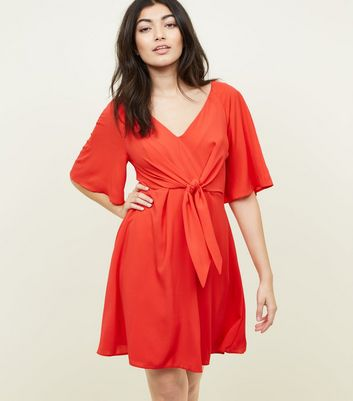 Red Tie Front Flutter Sleeve Dress