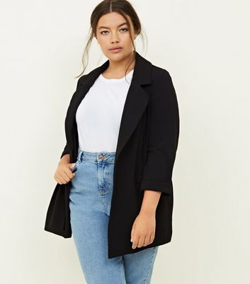 Curves Black Cross Hatch Stretch Blazer