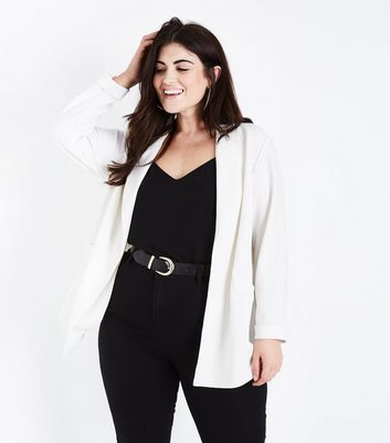 Curves Cream Cross Hatch Stretch Blazer