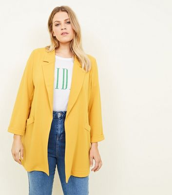 Curves Mustard Cross Hatch Stretch Blazer