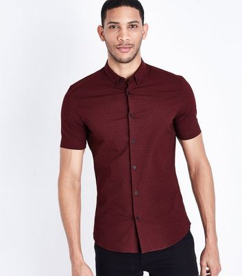 Burgundy Tile Print Muscle Fit Shirt