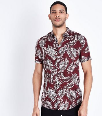 Red Feather Print Short Sleeve Shirt