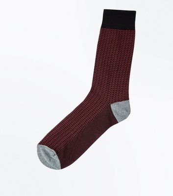 Burgundy Herringbone Socks
