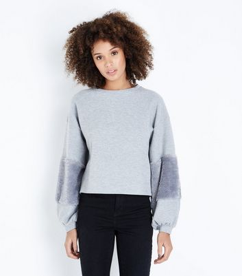 Pale Grey Faux Fur Sleeve Jumper