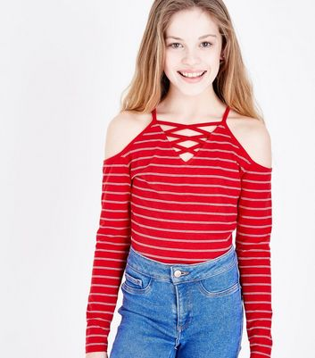Teens Red Stripe Lattice Front Cold Shoulder Top