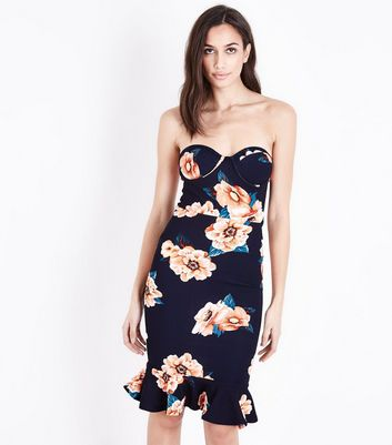 AX Paris Blue Floral Bandeau Frill Hem Dress