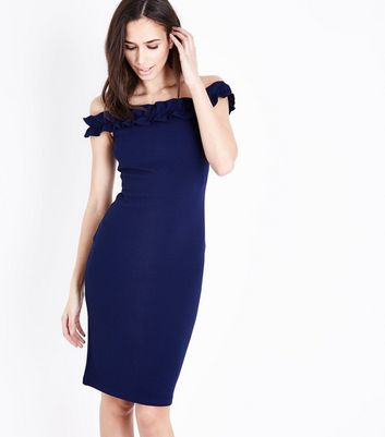 AX Paris Navy Bardot Neck Frill Bodycon Dress