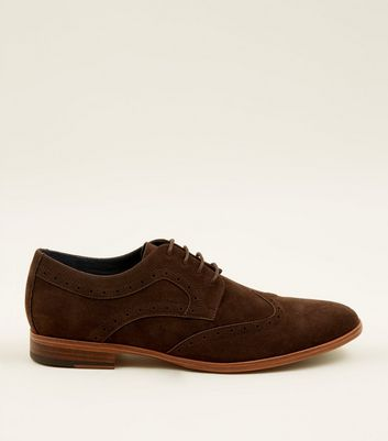 Dark Brown Lace Up Faux Suede Brogues