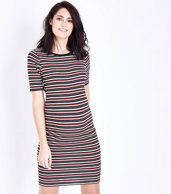 Maternity Black Stripe Jersey Bodycon Dress