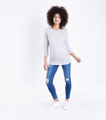 Maternity Blue Mid Wash Ripped Over Bump Skinny Jeans