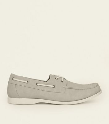 Pale Grey Perforated Boat Shoes