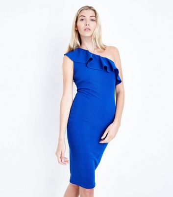 AX Paris Bright Blue One Shoulder Frill Dress