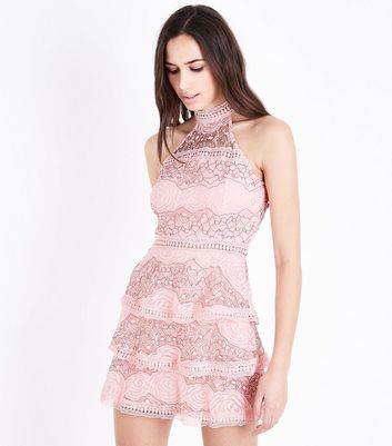 AX Paris Pink Lace Tiered Hem Dress