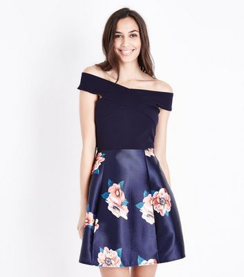AX Paris Blue Floral 2 in 1 Bardot Neck Dress