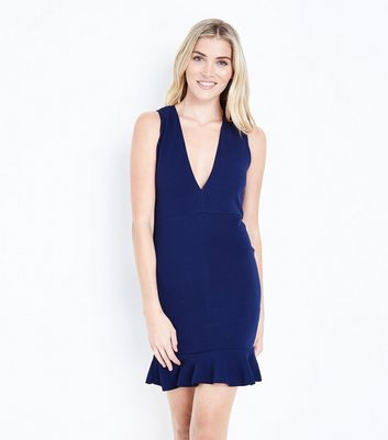 AX Paris Navy Plunge Neck Frill Hem Dress