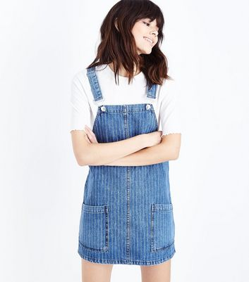 Blue Pinstripe Denim Pinafore Dress