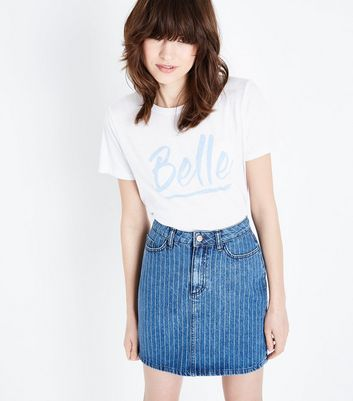 Blue Pinstripe High Waist Denim Skirt