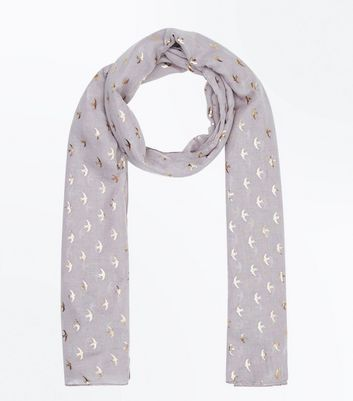 Light Grey Foil Bird Pattern Scarf