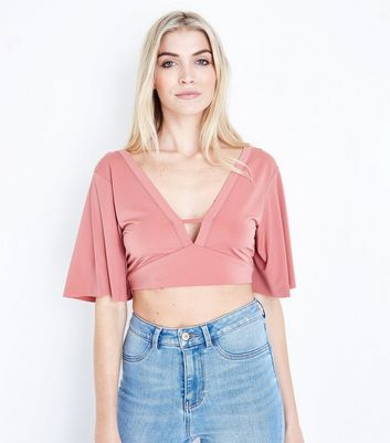 Pink Cape Sleeve Bar Front Crop Top