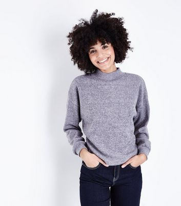 Pale Grey High Neck Balloon Sleeve Jumper