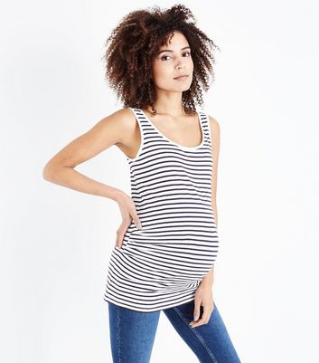 Maternity White Stripe Vest Top