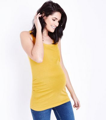 Maternity Yellow Scoop Neck Vest Top