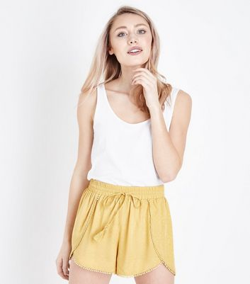 Petite Yellow Aztec Jacquard Runner Shorts