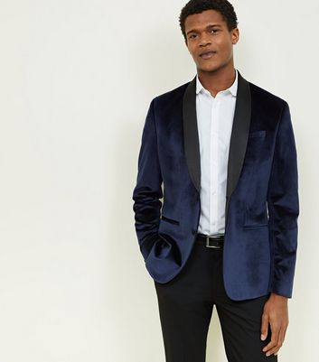 Navy Velvet Slim Fit Tuxedo Jacket