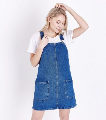 Discount Get Authentic Popular Cheap Online New Look Petite Button Front Denim Pinafore Dress Sale Best Cheap Sale Largest Supplier sSyXs