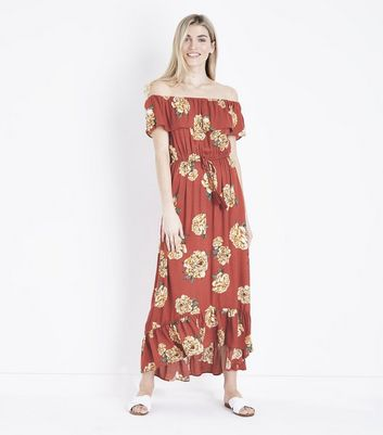 Rust Floral Tiered Bardot Maxi Dress