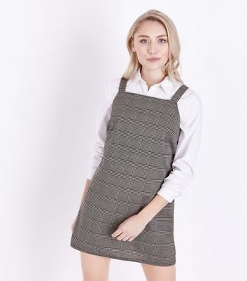 Petite Brown Check Print Pinafore Dress