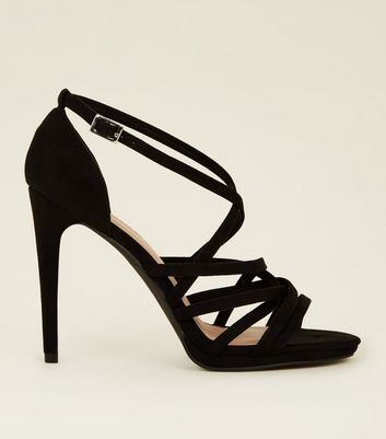 Black Suedette Woven Strappy Heeled Sandals