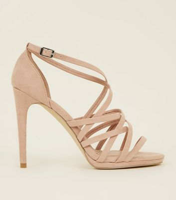 Nude Suedette Woven Strappy Heeled Sandals