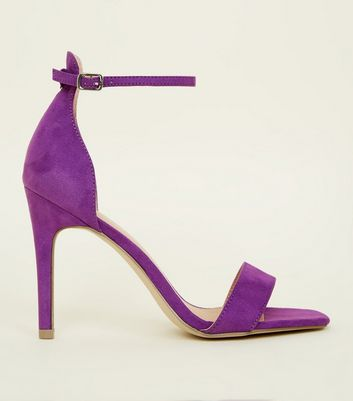 Purple Suedette Square Toe Two Part Sandals