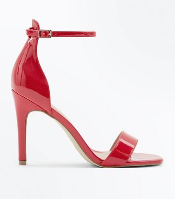 Red Patent Square Toe Two Part Sandals