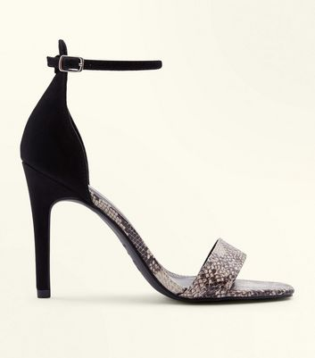 Black Faux Snakeskin Two Part Barely There Heels