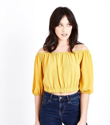 Mustard Balloon Sleeve Bardot Neck Crop Top