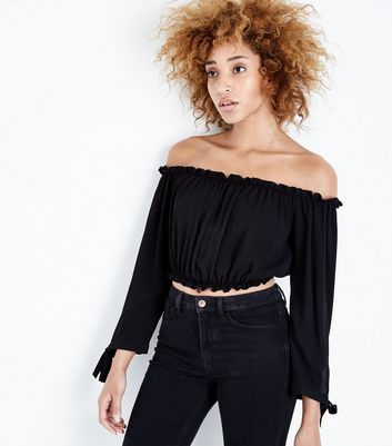 Black Tie Sleeve Bardot Neck Crop Top